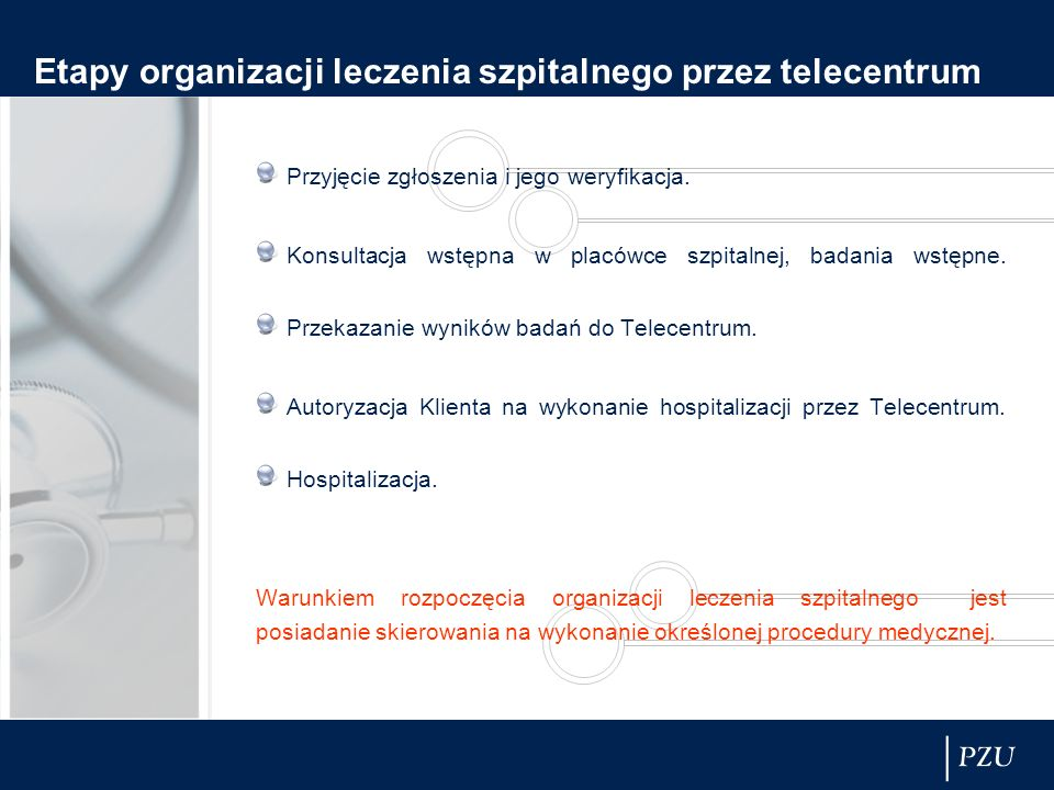 Etapy organizacji leczenia szpitalnego przez telecentrum