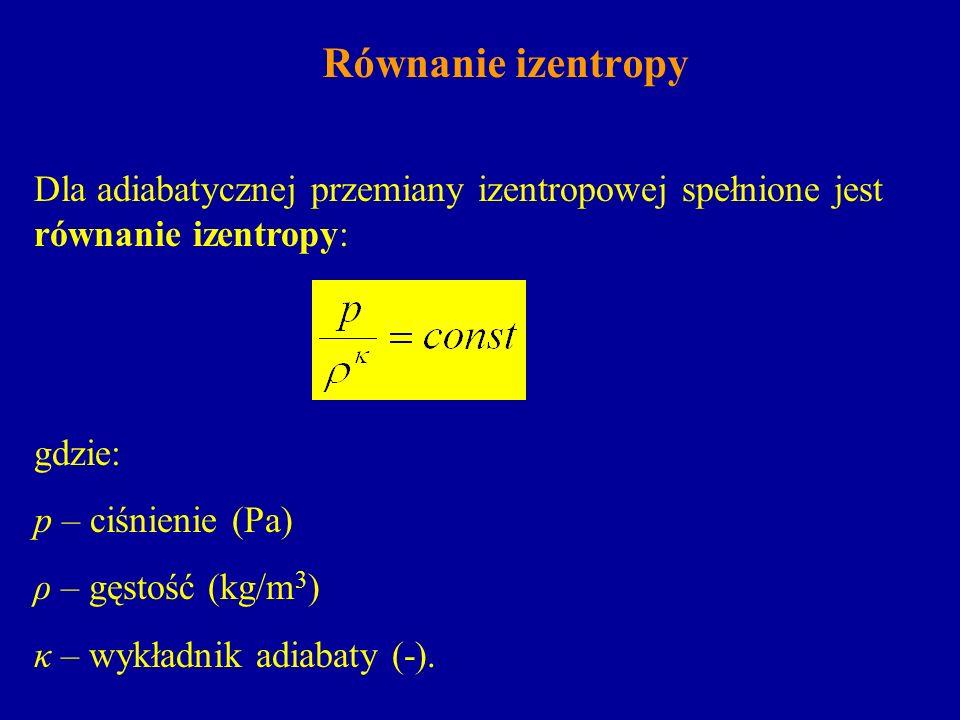 Równanie izentropyDla adiabatycznej przemiany izentropowej spełnione jest równanie izentropy: gdzie: