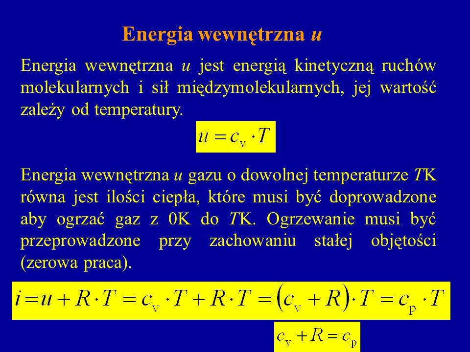 Energia wewnętrzna uEnergia wewnętrzna u jest energią kinetyczną ruchów molekularnych i sił międzymolekularnych, jej wartość zależy od temperatury.