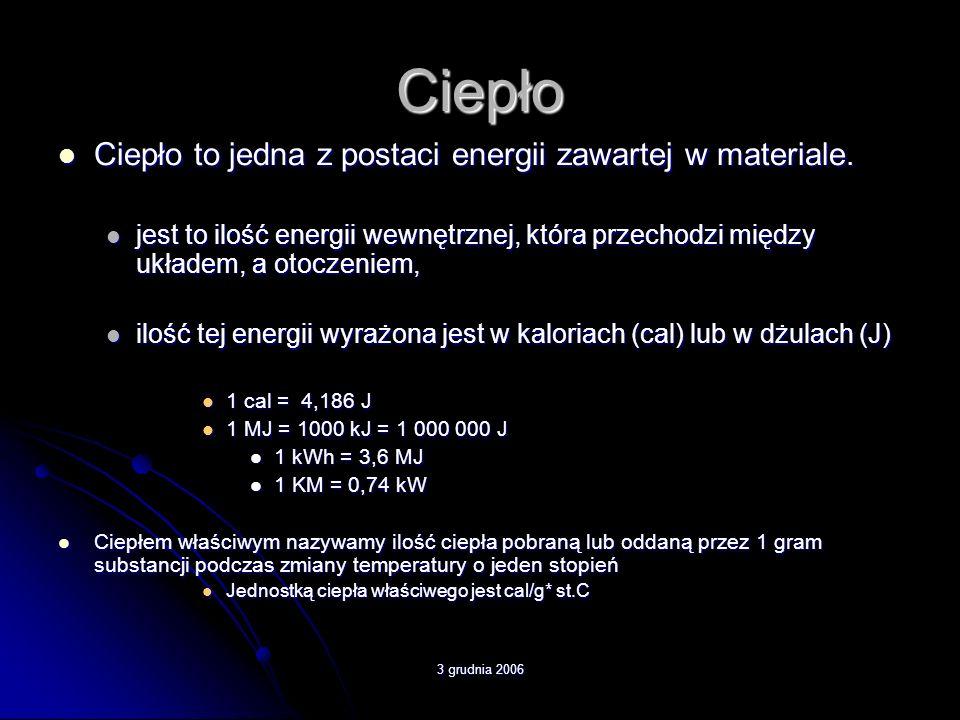 Ciepło Ciepło to jedna z postaci energii zawartej w materiale.