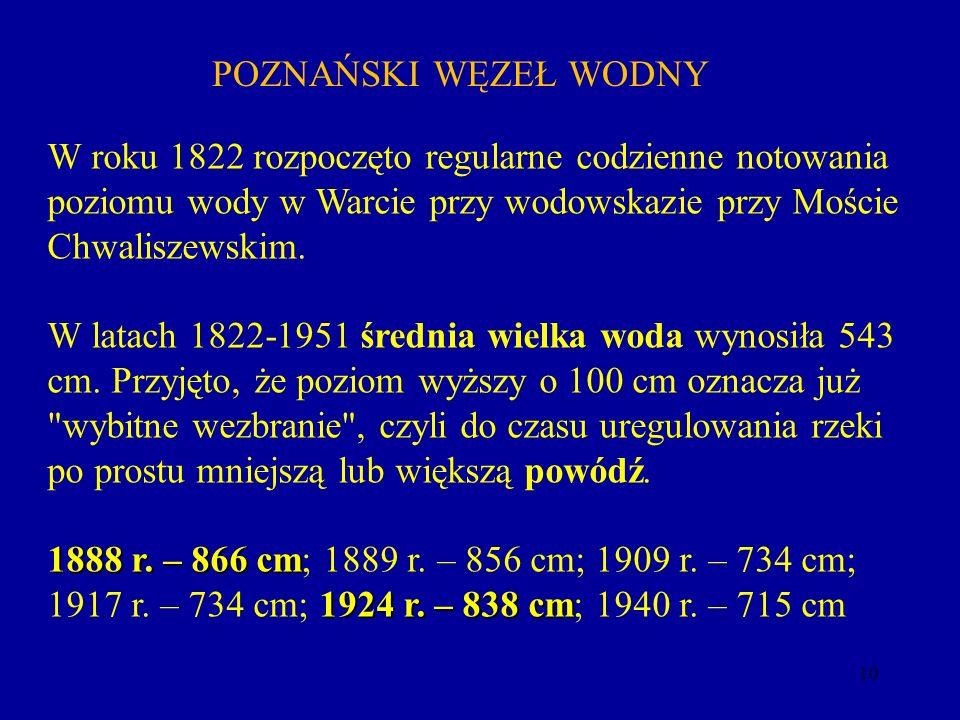 POZNAŃSKI WĘZEŁ WODNY W roku 1822 rozpoczęto regularne codzienne notowania poziomu wody w Warcie przy wodowskazie przy Moście Chwaliszewskim.