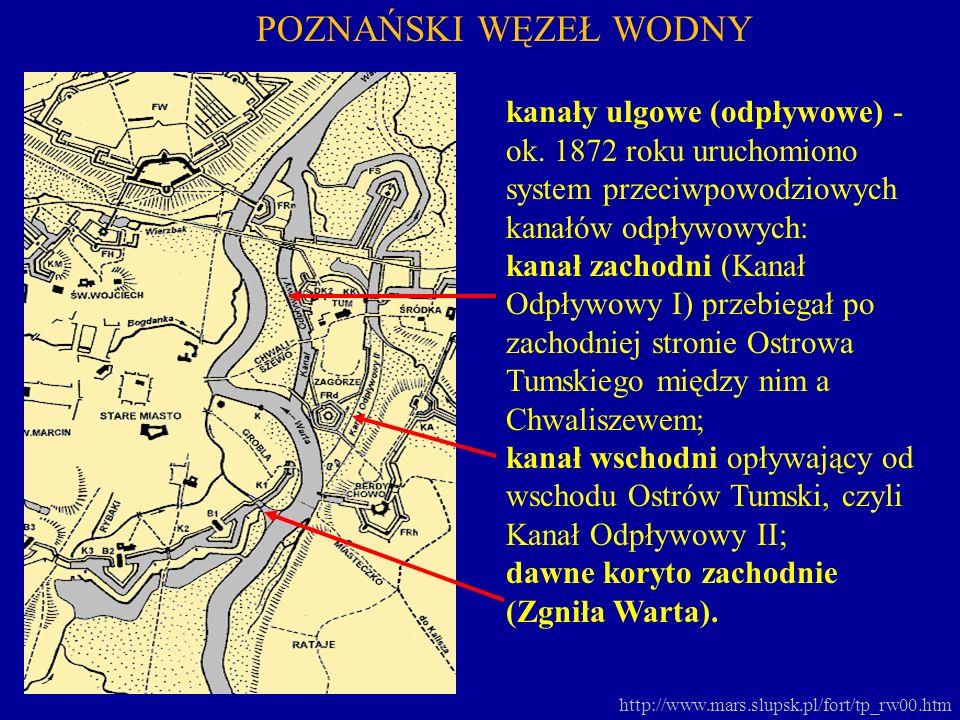 POZNAŃSKI WĘZEŁ WODNY kanały ulgowe (odpływowe) - ok. 1872 roku uruchomiono system przeciwpowodziowych kanałów odpływowych: