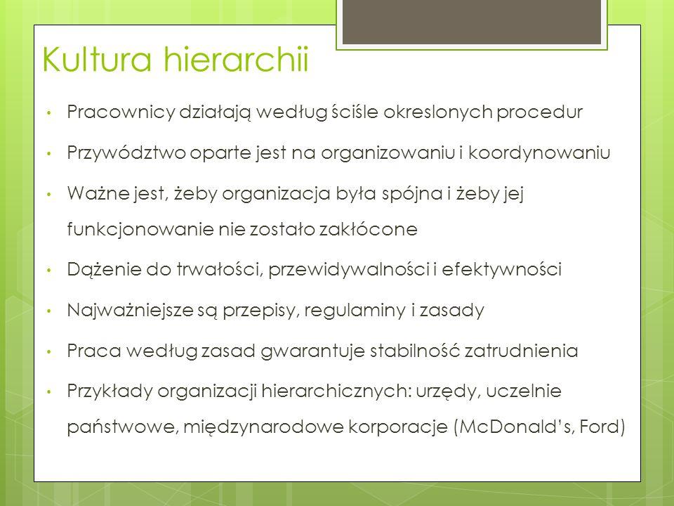 Kultura hierarchii Pracownicy działają według ściśle okreslonych procedur. Przywództwo oparte jest na organizowaniu i koordynowaniu.
