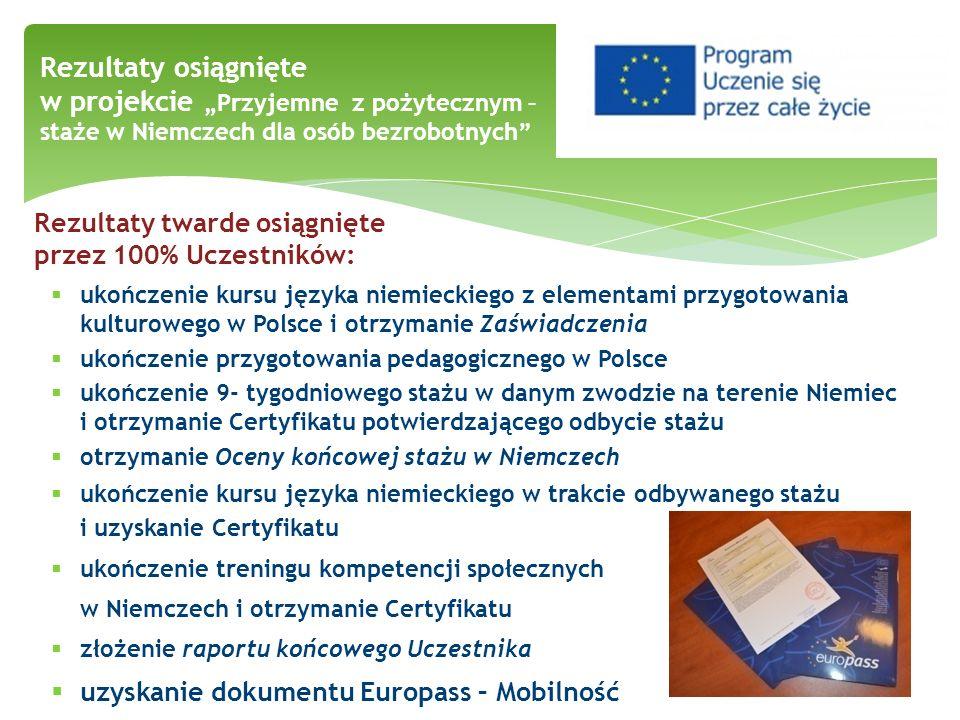"""Rezultaty osiągnięte w projekcie """"Przyjemne z pożytecznym – staże w Niemczech dla osób bezrobotnych"""