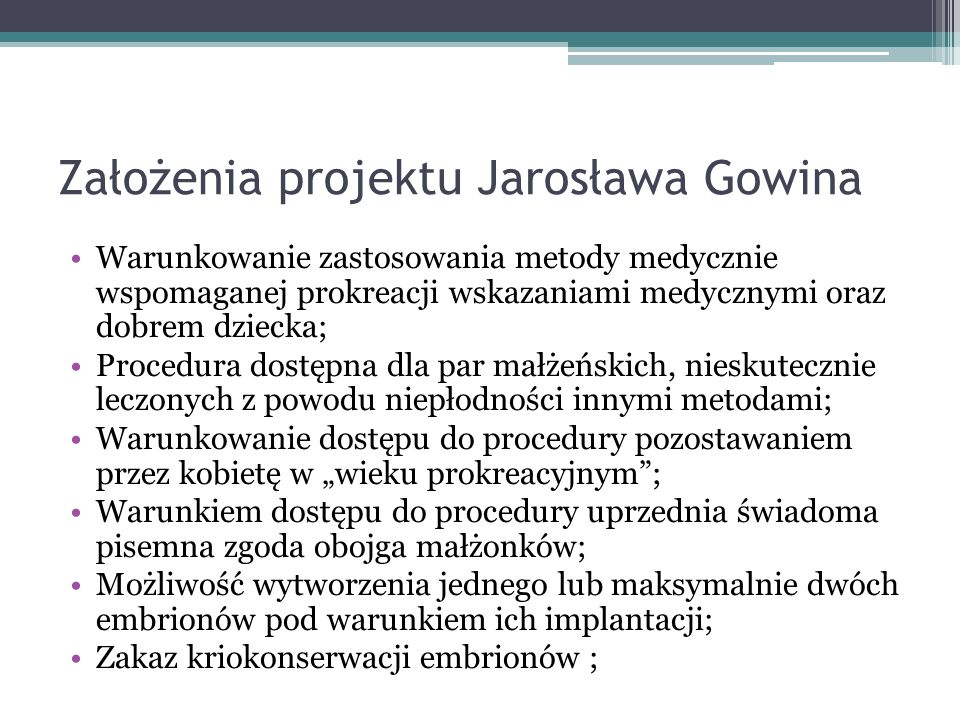Założenia projektu Jarosława Gowina