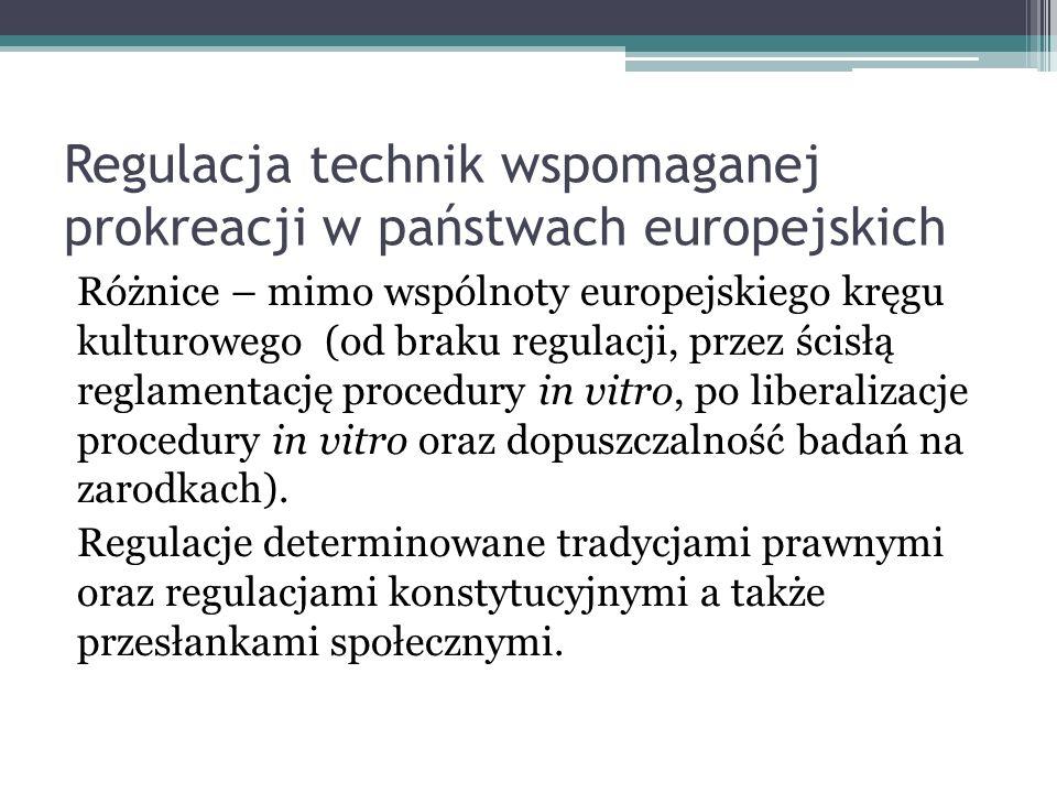 Regulacja technik wspomaganej prokreacji w państwach europejskich