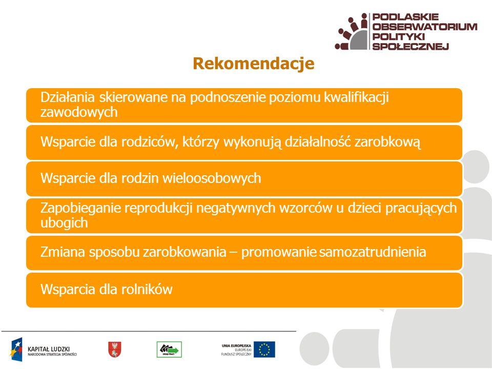 RekomendacjeDziałania skierowane na podnoszenie poziomu kwalifikacji zawodowych. Wsparcie dla rodziców, którzy wykonują działalność zarobkową.