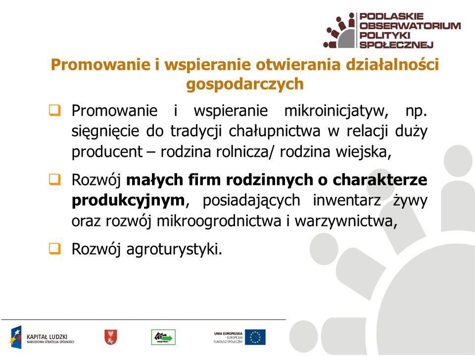 Promowanie i wspieranie otwierania działalności gospodarczych