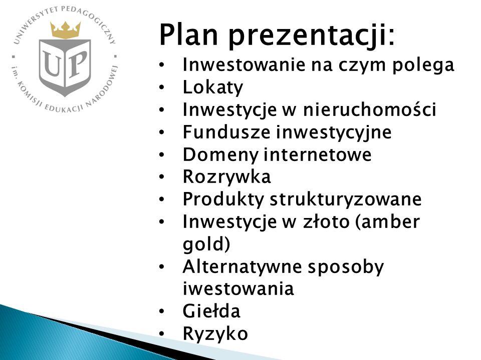 Plan prezentacji: Inwestowanie na czym polega Lokaty