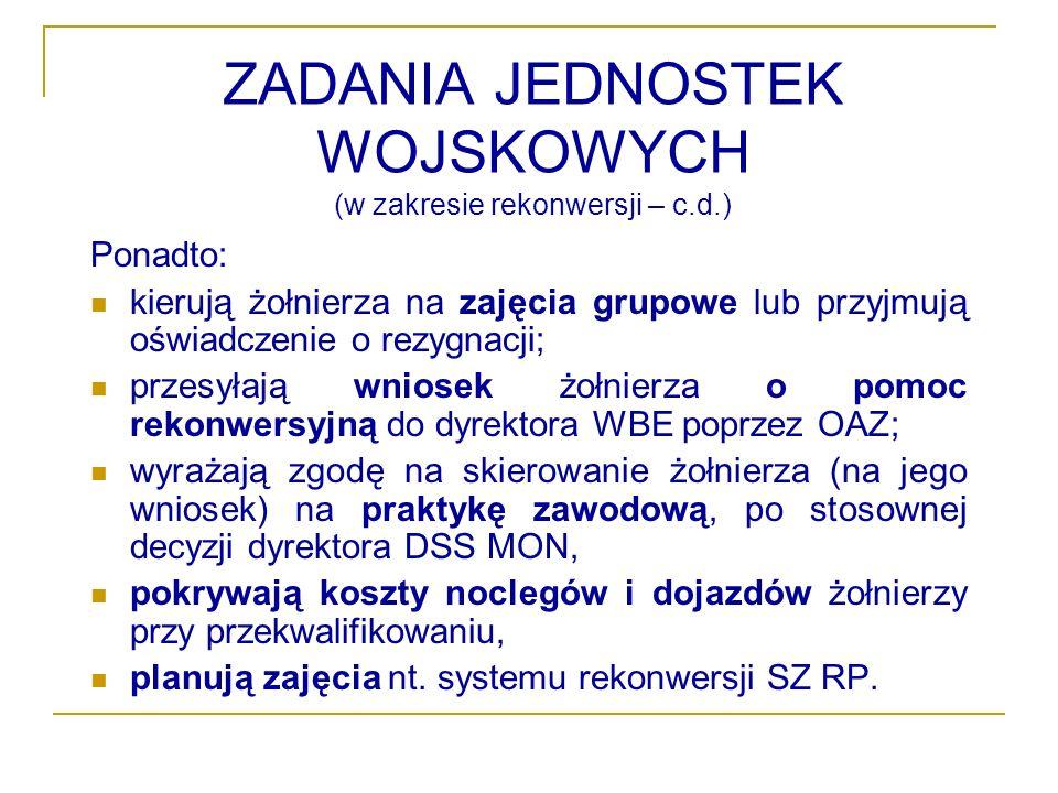 ZADANIA JEDNOSTEK WOJSKOWYCH (w zakresie rekonwersji – c.d.)