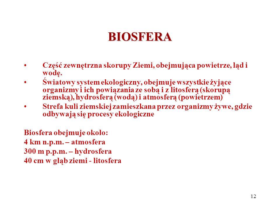 BIOSFERA Część zewnętrzna skorupy Ziemi, obejmująca powietrze, ląd i wodę.