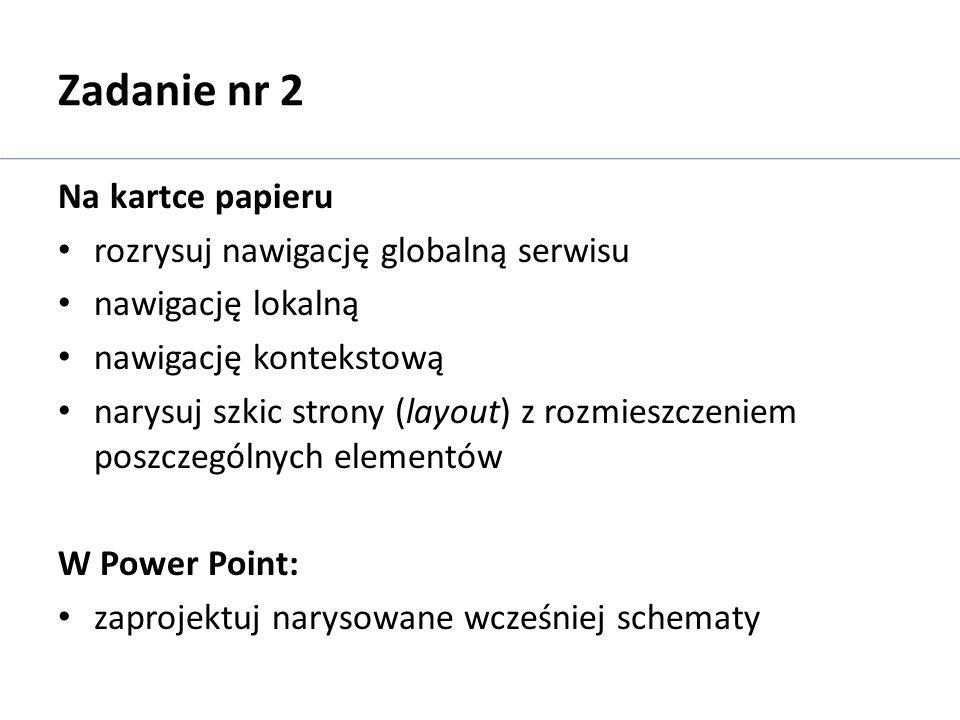 Zadanie nr 2 Na kartce papieru rozrysuj nawigację globalną serwisu
