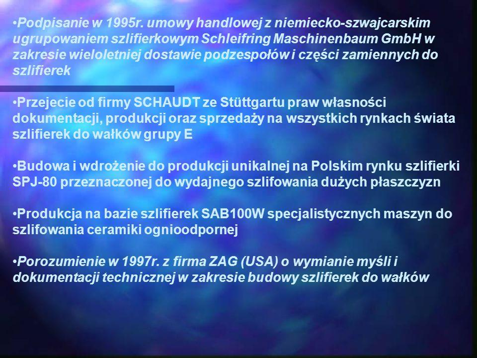Podpisanie w 1995r. umowy handlowej z niemiecko-szwajcarskim ugrupowaniem szlifierkowym Schleifring Maschinenbaum GmbH w zakresie wieloletniej dostawie podzespołów i części zamiennych do szlifierek