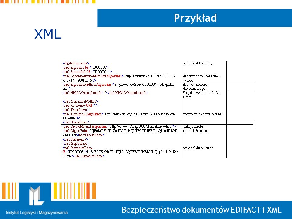 Przykład XML Bezpieczeństwo dokumentów EDIFACT i XML