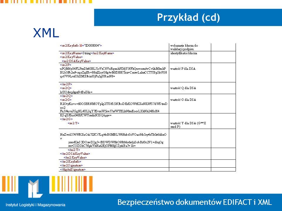 Przykład (cd) XML Bezpieczeństwo dokumentów EDIFACT i XML