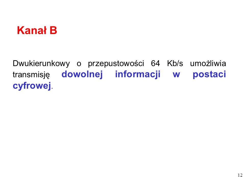 Kanał B Dwukierunkowy o przepustowości 64 Kb/s umożliwia transmisję dowolnej informacji w postaci cyfrowej.