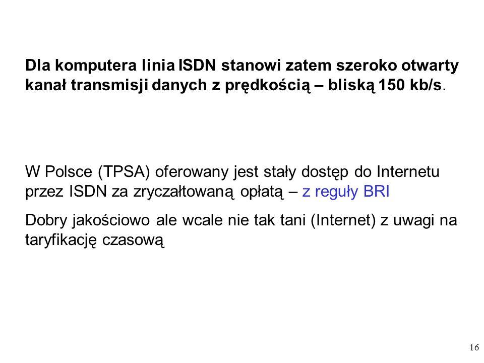 Dla komputera linia ISDN stanowi zatem szeroko otwarty kanał transmisji danych z prędkością – bliską 150 kb/s.