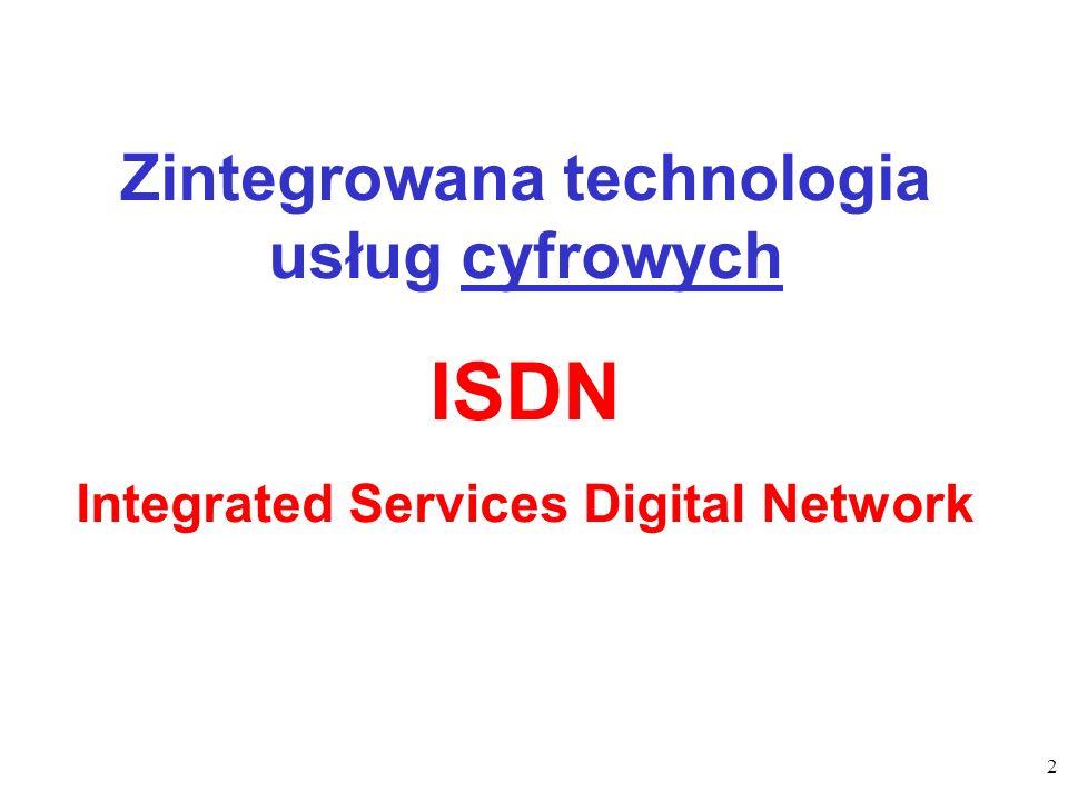 ISDN Zintegrowana technologia usług cyfrowych