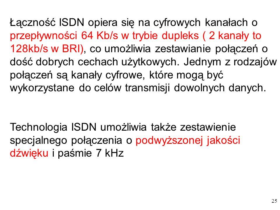 Łączność ISDN opiera się na cyfrowych kanałach o przepływności 64 Kb/s w trybie dupleks ( 2 kanały to 128kb/s w BRI), co umożliwia zestawianie połączeń o dość dobrych cechach użytkowych. Jednym z rodzajów połączeń są kanały cyfrowe, które mogą być wykorzystane do celów transmisji dowolnych danych.