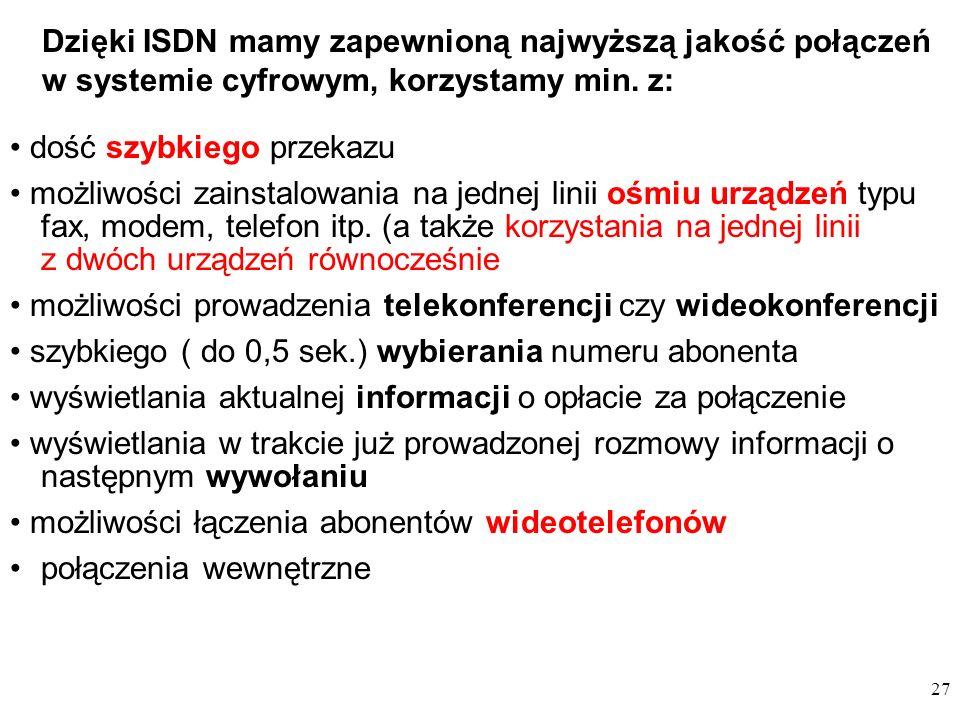 Dzięki ISDN mamy zapewnioną najwyższą jakość połączeń w systemie cyfrowym, korzystamy min. z: