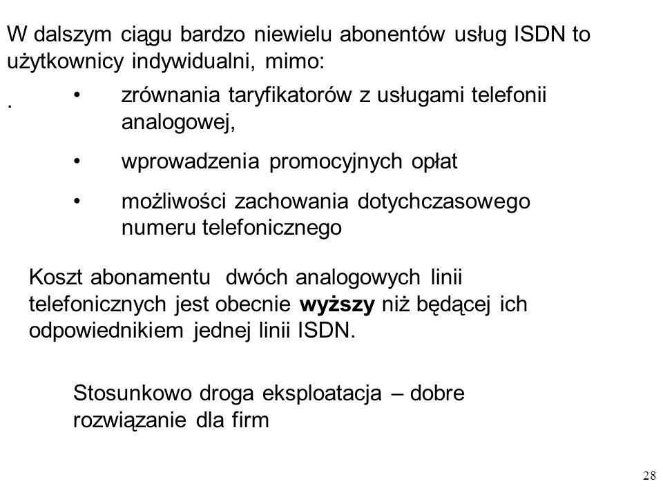 W dalszym ciągu bardzo niewielu abonentów usług ISDN to użytkownicy indywidualni, mimo: