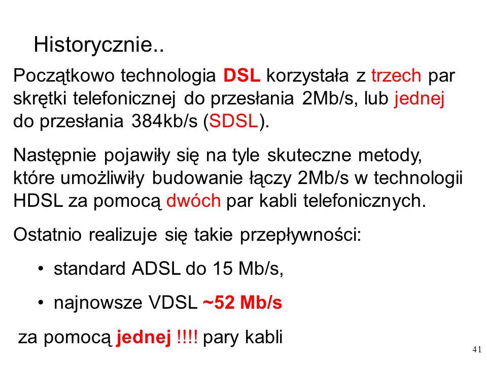 Historycznie.. Początkowo technologia DSL korzystała z trzech par skrętki telefonicznej do przesłania 2Mb/s, lub jednej do przesłania 384kb/s (SDSL).