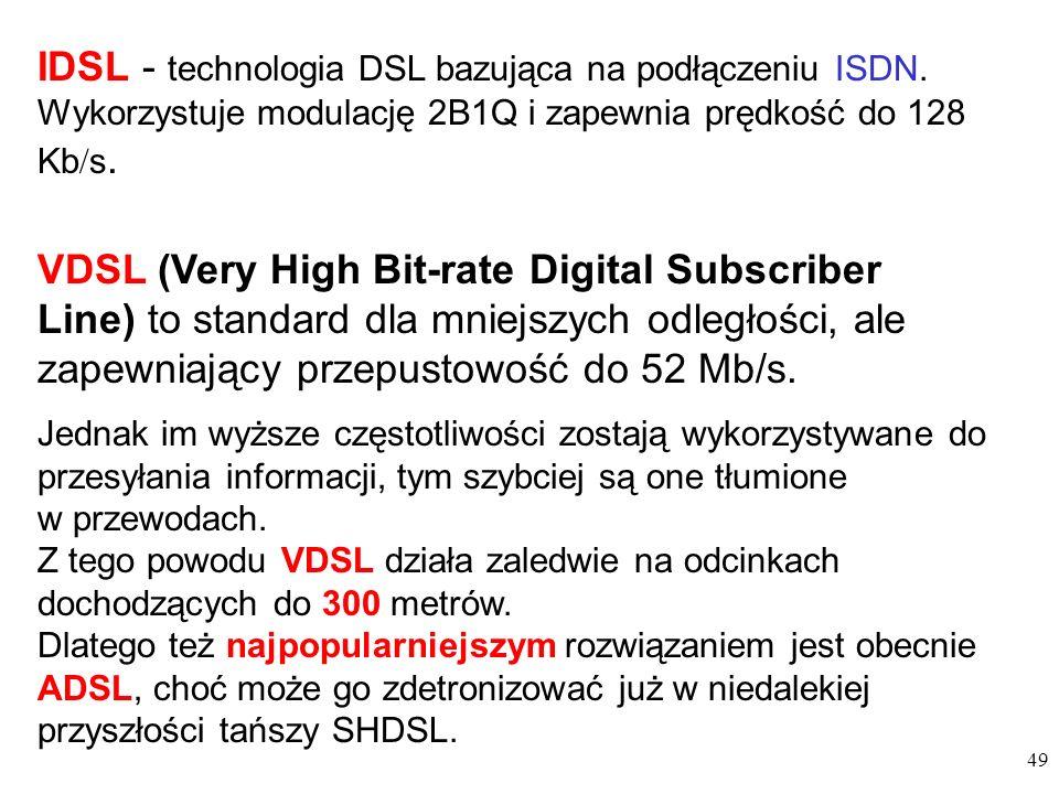 IDSL - technologia DSL bazująca na podłączeniu ISDN