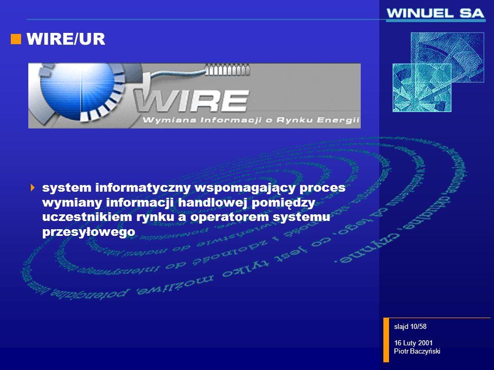 WIRE/UR system informatyczny wspomagający proces wymiany informacji handlowej pomiędzy uczestnikiem rynku a operatorem systemu przesyłowego.