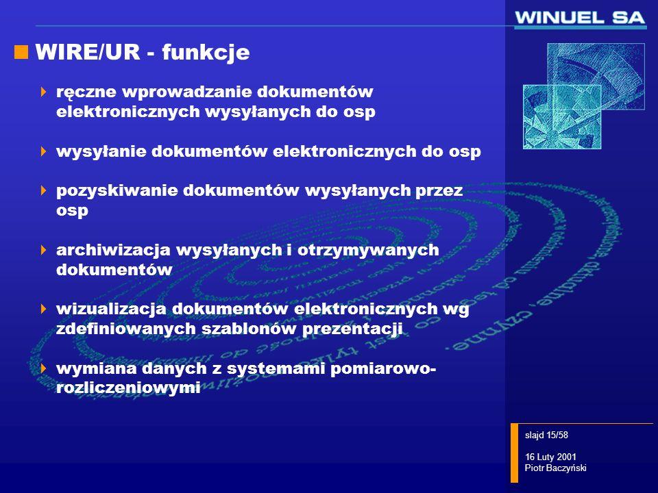 WIRE/UR - funkcje ręczne wprowadzanie dokumentów elektronicznych wysyłanych do osp. wysyłanie dokumentów elektronicznych do osp.