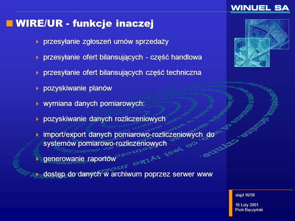WIRE/UR - funkcje inaczej