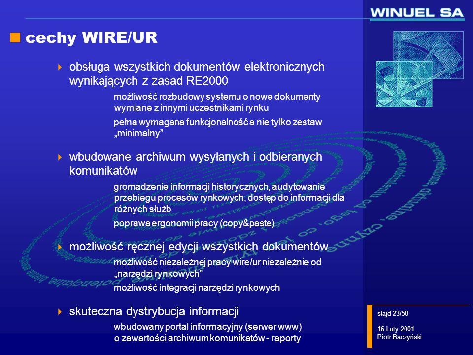 cechy WIRE/UR obsługa wszystkich dokumentów elektronicznych wynikających z zasad RE2000.