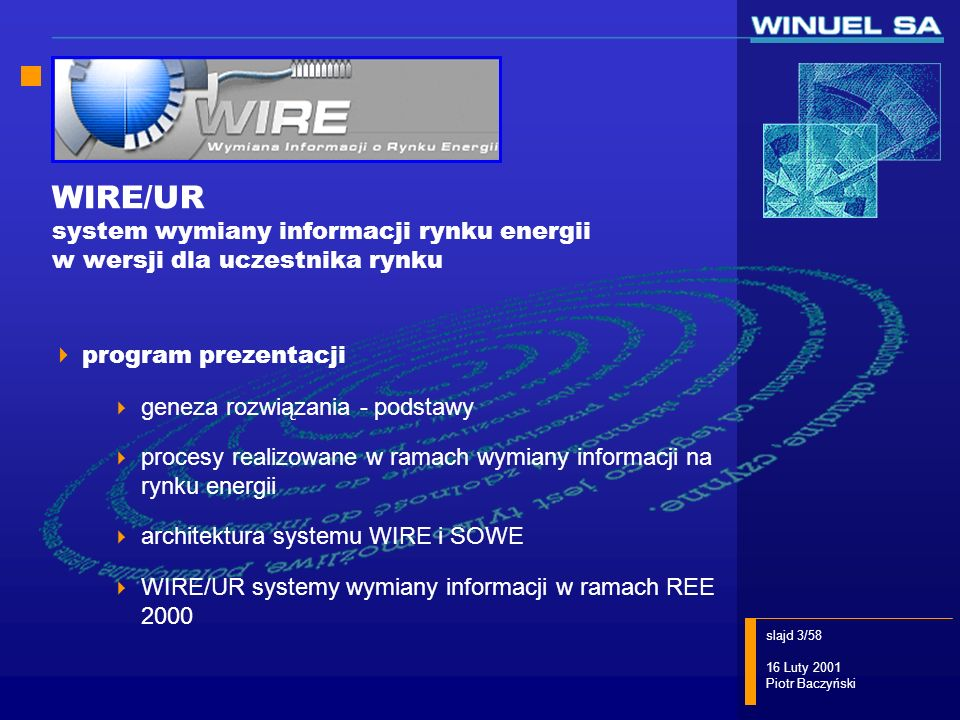 WIRE/UR system wymiany informacji rynku energii w wersji dla uczestnika rynku