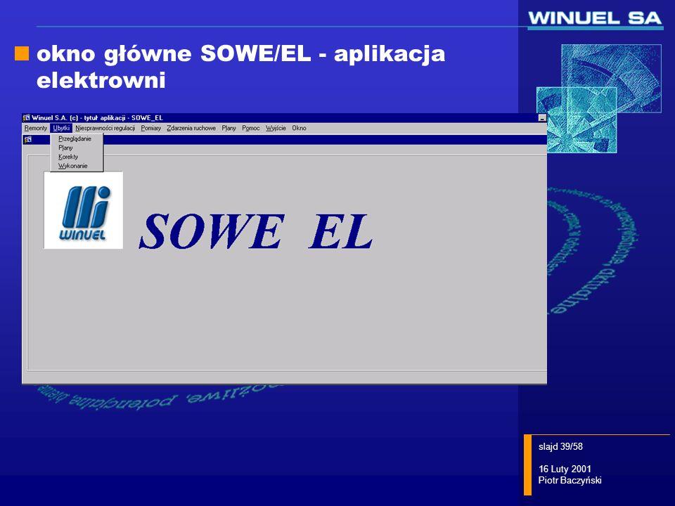 okno główne SOWE/EL - aplikacja elektrowni