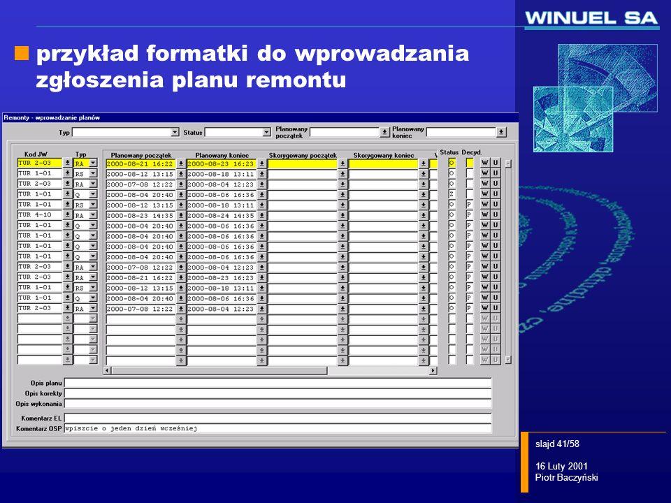przykład formatki do wprowadzania zgłoszenia planu remontu