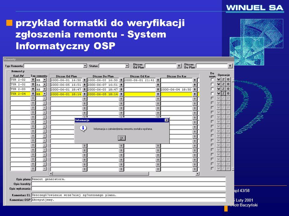 przykład formatki do weryfikacji zgłoszenia remontu - System Informatyczny OSP