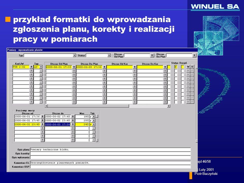 przykład formatki do wprowadzania zgłoszenia planu, korekty i realizacji pracy w pomiarach