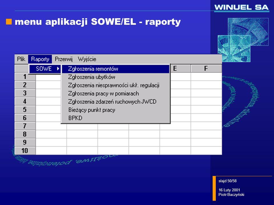 menu aplikacji SOWE/EL - raporty