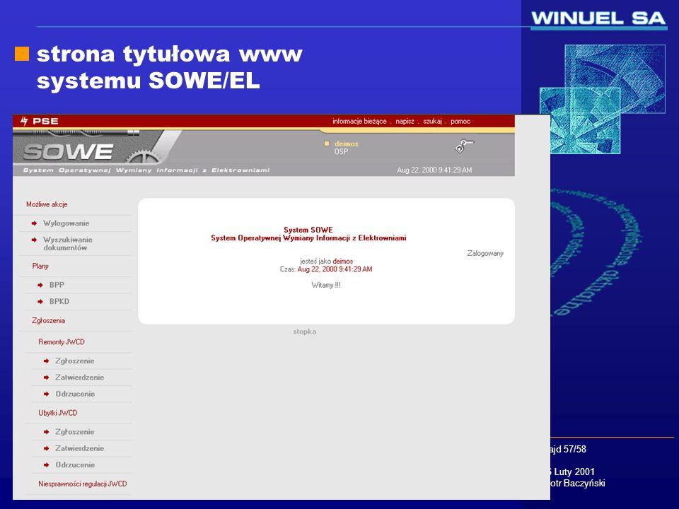 strona tytułowa www systemu SOWE/EL