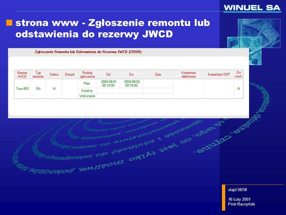 strona www - Zgłoszenie remontu lub odstawienia do rezerwy JWCD