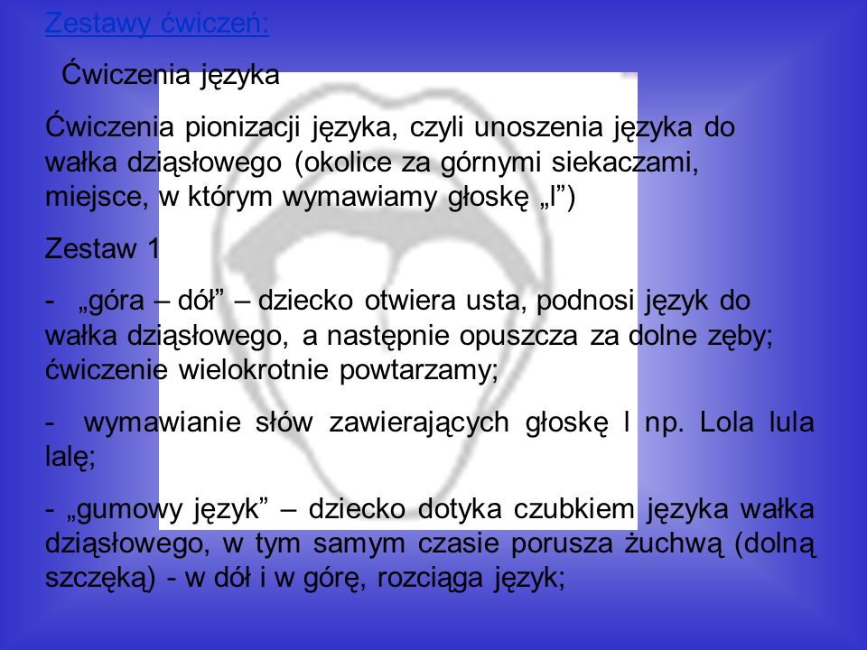 Zestawy ćwiczeń: Ćwiczenia języka.