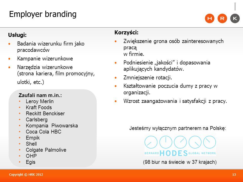 Employer branding Korzyści: Usługi: