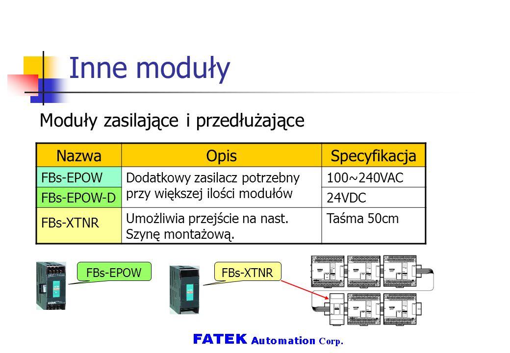 Inne moduły Moduły zasilające i przedłużające Nazwa Opis Specyfikacja