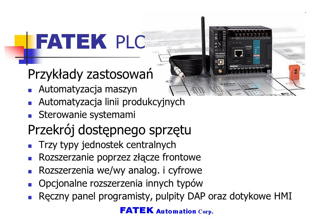 PLC Przykłady zastosowań Przekrój dostępnego sprzętu