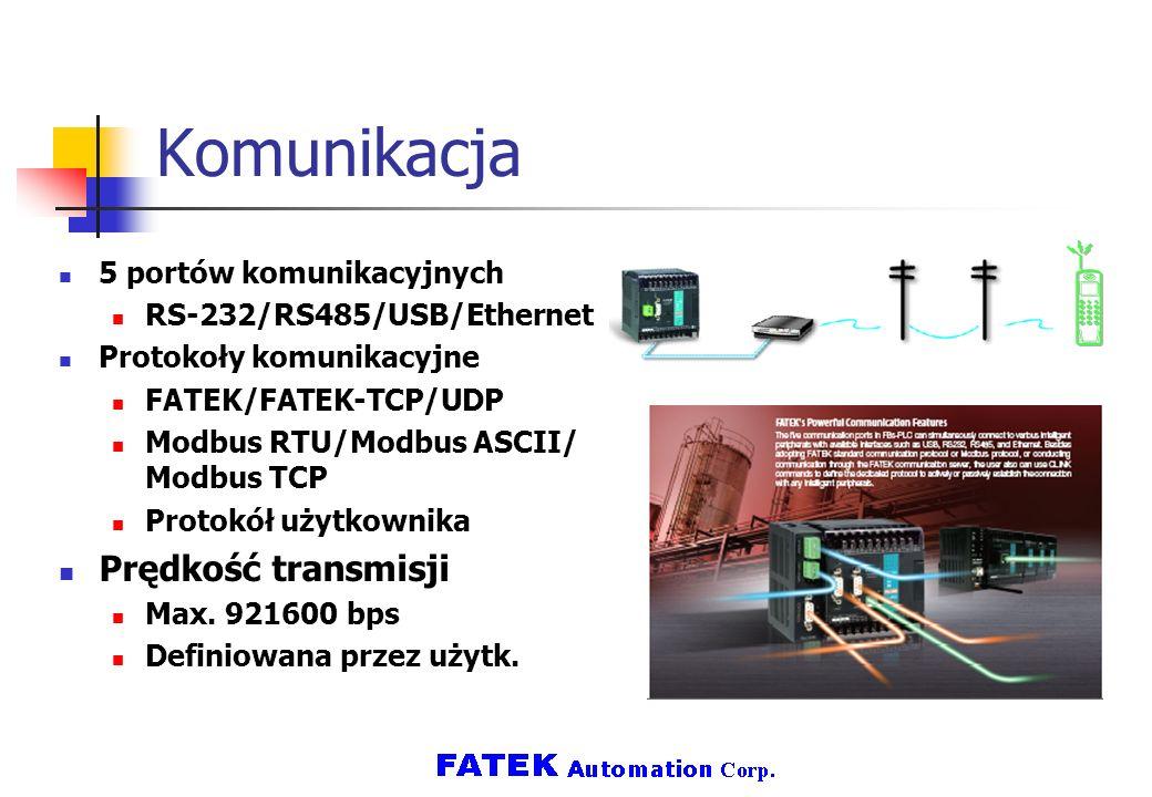 Komunikacja Prędkość transmisji 5 portów komunikacyjnych