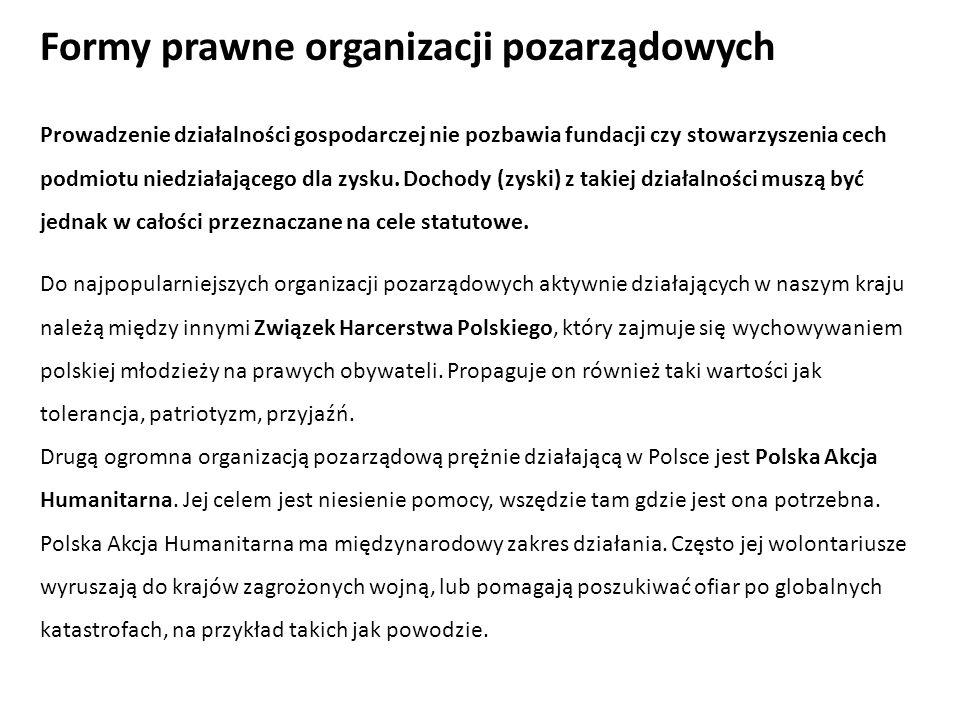 Formy prawne organizacji pozarządowych