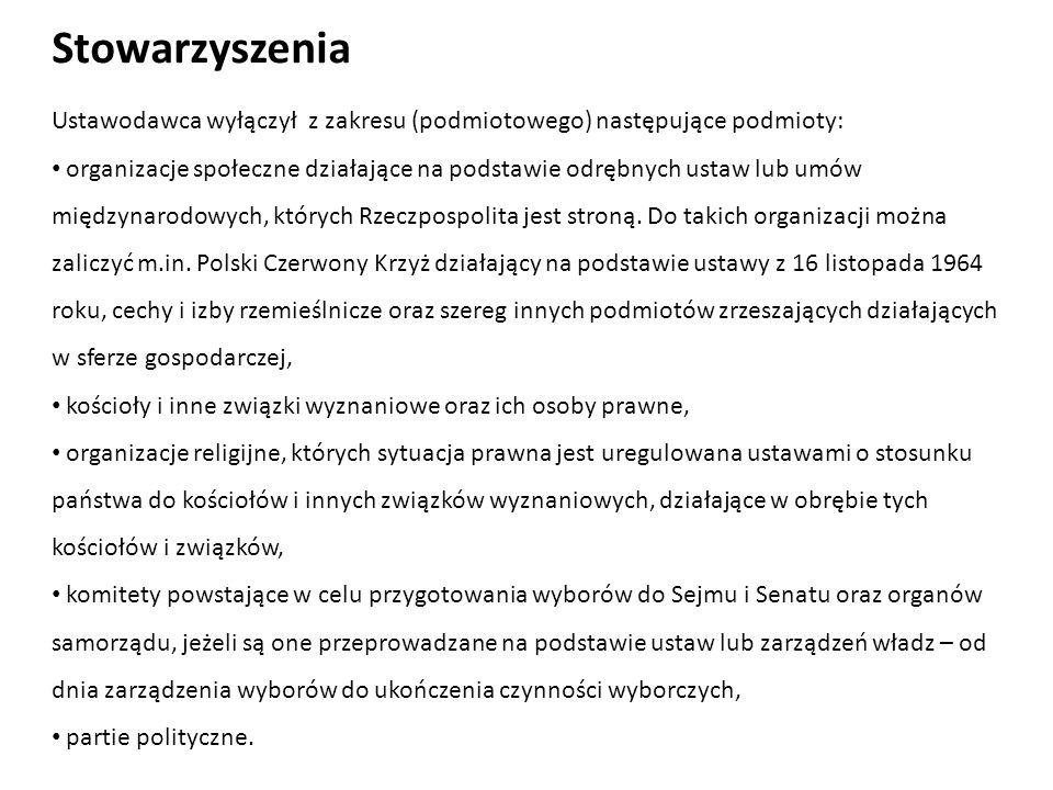 Stowarzyszenia Ustawodawca wyłączył z zakresu (podmiotowego) następujące podmioty: