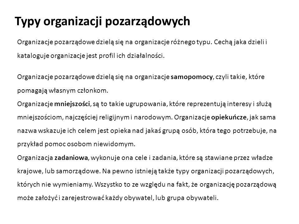 Typy organizacji pozarządowych