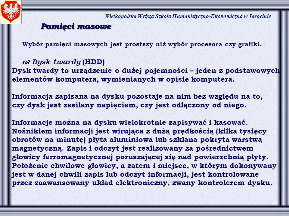 Pamięci masowe  Dysk twardy (HDD)