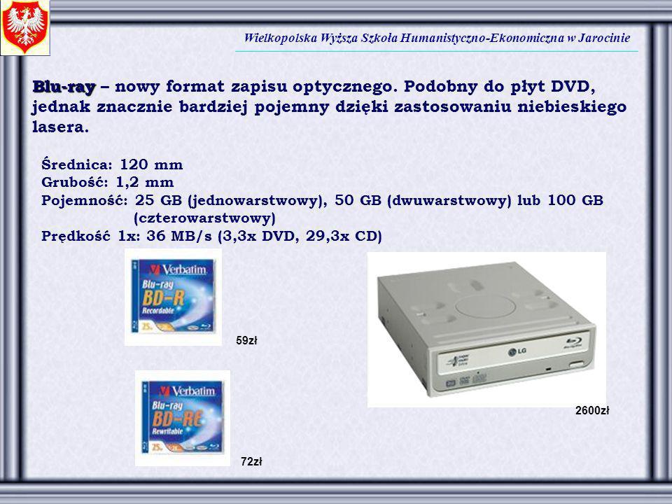 Blu-ray – nowy format zapisu optycznego. Podobny do płyt DVD,