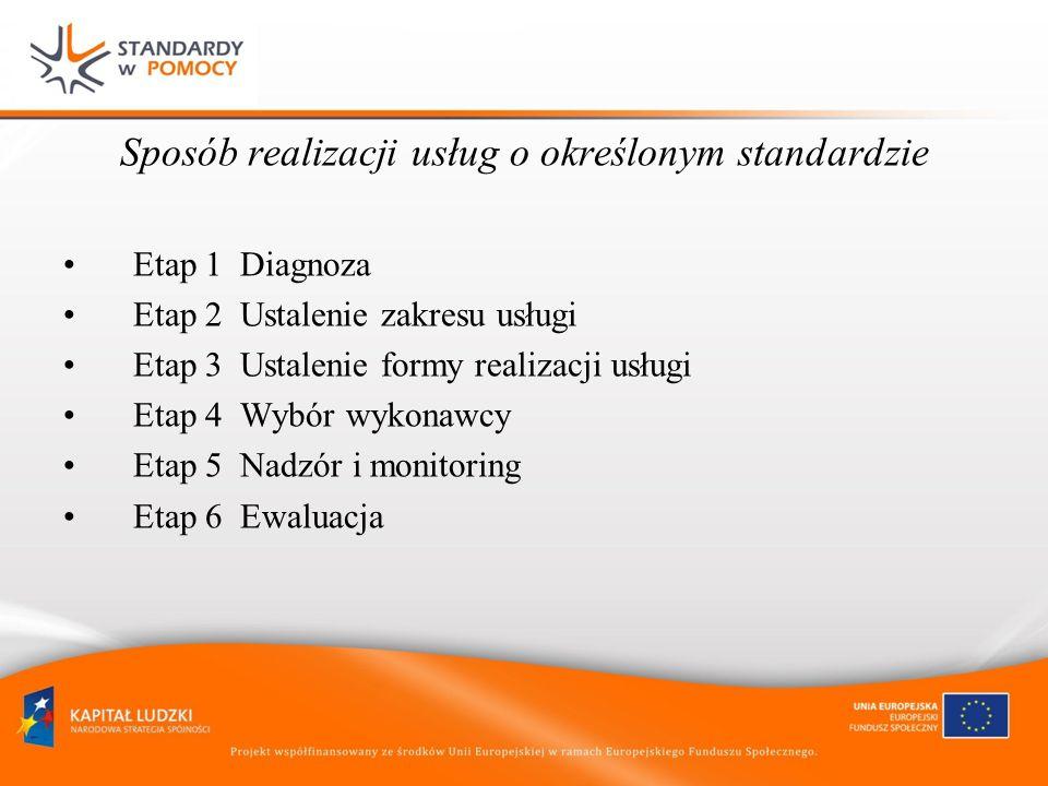 Sposób realizacji usług o określonym standardzie